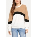 New Stylish Color Block Round Neck Long Sleeve Fluffy Teddy Sweatshirt