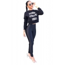 FASHION STOLE MY SMILE Letter Print Long Sleeve Round Neck Black Cropped Pullover Sweatshirt