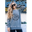 Cat Letter Printed Long Sleeve Round Neck Casual Leisure Grey Pullover Sweatshirt