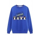 Cute Cartoon Penguin Letter Printed Long Sleeve Round Neck Leisure Pullover Sweatshirt
