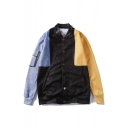 Mens New Stylish Colorblock Print Stand Collar Long Sleeve Single Breasted Casual Jacket