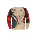 Creative Fashion Girl with Finger 3D Printed Round Neck Long Sleeve Red Unisex Trendy Pullover Sweatshirts