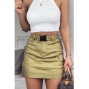Womens Elasticated-Waist Flap Pockets Mini Cargo Skirt