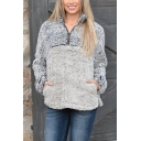 New Fashion Gray Half-Zip Stand Collar Long Sleeve Plain Warm Fluffy Sweatshirt