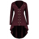Retro Notched Lapel Collar Half-Zip Style High Low Hem Swallowtail Coat