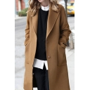 Winter Chic Ladies Single Breasted Lapel Collar Warm Long Woolen Coat