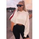 New Fashion Simple Color Block Long Sleeve Cropped Loose Hoodie