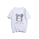 New Stylish NICE Letter Comic Girl Printed Round Neck Short Sleeve Cotton Tee