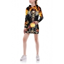 3D Anger Skull Print Long Sleeve Black Long Pullover Hoodie With Pocket