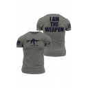 New Stylish Letter I AM THE WEAPON Gun Printed Short Sleeve Round Neck T-Shirt