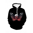 New Stylish Halloween Arms Skull 3D Printed Long Sleeve Black Loose Drawstring Hoodie
