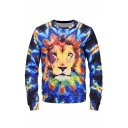 Mens New Fashion Tie Dyeing Lion 3D Printed Long Sleeve Round Neck Blue Pullover Sweatshirts