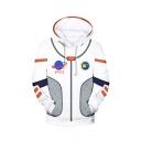 Star Wars Space Planet Printed Cosplay Costume Long Sleeve White Loose Pullover Hoodie