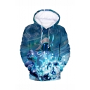 Hot Popular Game Character 3D Printed Blue Loose Fit Long Sleeve Pullover Hoodie
