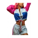 Fashion Patchwork Print Stand Neck Long Sleeve Drawstring Tops with Elastic Athletic Shorts Co-ords