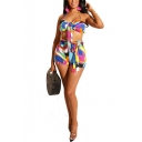 Womens Sexy Summer's Multicolor Print Sleeveless Halter Camisole with Belted Shorts Co-ords
