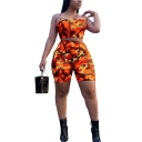 Womens Camouflage Print Strapped Crop Cami High Waist Skinny Shorts Co-ords