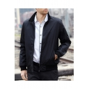 New Fashion Stand Collar Plain Long Sleeve Zip Placket Workwear Jacket for Men