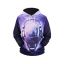 New Stylish Music Skull 3D Printed Long Sleeve Purple Drawstring Pullover Hoodie with Pocket