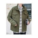 Guys New Trendy Simple Solid Color Long Sleeve Zip Up Coat with Pockets