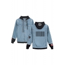 Hot Popular Letter 1-800-BOTLINEBLING Printed Ripped Long Sleeve Button Down Hooded Denim Jacket Coat