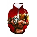 New Stylish Funny Comic Character Printed Long Sleeve Red Sport Loose Hoodie