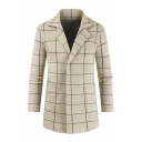 Men's Trendy Classic Plaid Notched Lapel Collar Button Closure Longline Knitwear Trench Coat