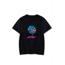 New Trendy Cartoon Letter WRLD Print Round Neck Short Sleeve Casual Graphic T-Shirt