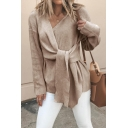 Hot Popular Plain V Neck Long Sleeve Asymmetrical Cardigan for Women