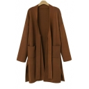 Hot Popular Business Style Chic Bandage Plain Fitted Long Sleeve Knitwear Coat Cardigan with Pockets
