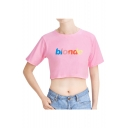 Summer Simple Letter BLONDE Printed Short Sleeve Round Neck Cropped Cotton T-Shirt