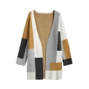 Hot Sale Casual Colorblock Print Boxy Long Sleeve Open Front Cardigan Coat for Women