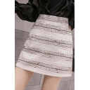 Winter Classic Colorful Stripe Zip Back Mini A-Line Skirt