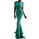 Hot Fashion Round Neck Cap Sleeve Sequined Twist-Waist Tie Back Open Back Pleat Hem Maxi Plain Bodycon Dress