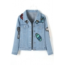 Stylish Lapel Collar Cartoons Paillette-Embellished Multi-Pocket Cropped Jean Jacket