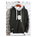 Mens Trendy Cartoon Robot Printed Letter Tape Side Long Sleeve Casual Sports Drawstring Hoodie