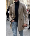 Men's Popular Notched Lapel Collar Long Sleeves Single Breasted Plain khaki Overcoat