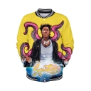 New Stylish Letter Character 3D Pattern Stand Collar Long SleeveSingle Breasted Yellow Jacket
