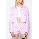 Check Lapel Collar Long Sleeve Button Front Pink Cropped Jacket with Flap Pocket