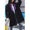 Chinese Letter Cartoon Character Printed Hooded Longer Length Black Zipper Coat