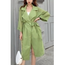 Fashion Notched Lapel Collar Tied Waist Solid Color Chiffon Long Sun Protection Trench Coat
