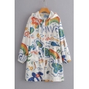 Rainbow Whale Graffiti-Print Drawstring at Hood Longline Zipper Sun Protection Skin Coat