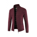 Mens Winter Hot Popular Stand Collar Plain Warm Cable Knitted Slim Fit Zip Up Cardigan Knitwear