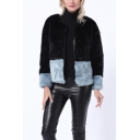 Winter Crewneck Collar Open Front Colorblocked Faux Rabbit Fur Jacket Coat