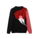 Autumn Winter Flamingo Print Round Neck Long Sleeve Fitted Sweater for Women
