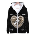 New Fashion American Popular Rapper Heart 3D Printed Long Sleeve Casual Zip Up Hoodie