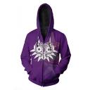 The Legend of Zelda Mask 3D Printed Purple Long Sleeve Drawstring Zip Up Hoodie