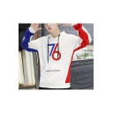 Popular Fashion Colorblock Letter 76 Printed Long Sleeve Casual Sports Pullover Hoodie