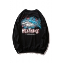 Cartoon Shark Letter HEATHANS Printed Long Sleeve Round Neck Casual Pullover Sweatshirts