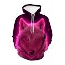 Hot Fashion Purple Aurora Wolf 3D Printed Long Sleeve Loose Drawstring Hoodie